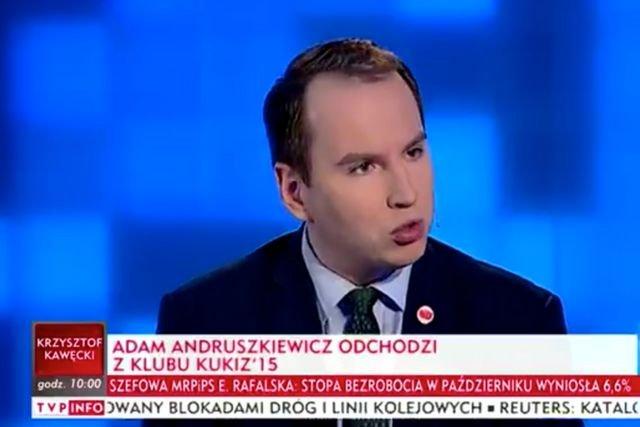 Adam Andruszkiewicz oficjalnie potwierdził odejście z klubu Kukiz'15.
