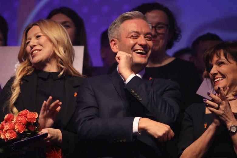 Robert Biedroń na konwencji swojej partii Wiosna w Poznaniu.