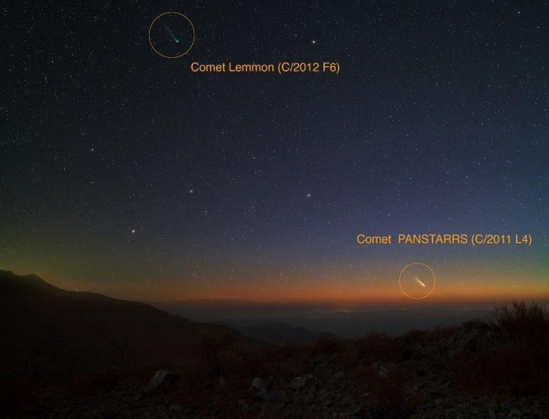 Dwie komety widoczny na jednym zdjęciu. Las Campanas, Chile