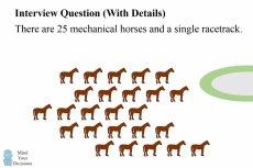 Ta zagadka z 25 końmi, spośród których trzeba wyłonić najszybszą trójkę to podobno jedno z zadań decydujących o szansach na karierę w takich korporacjach, jak Google.
