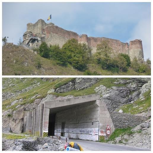 Ruiny Zamku Poenari, wjazd do najdłuższego tunelu na Trasie Transfogaraskiej (884m), Rumunia