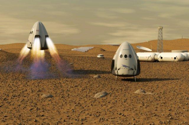 Wizualizacja kapsuły Dragon, która według zapowiedzi Space X ma wylądować na Marsie