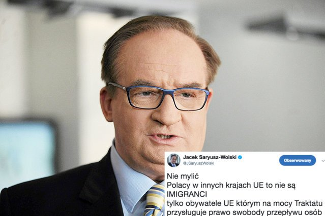 Jacek Saryusz-Wolski przekonuje, że na terenie UE nie ma żadnych imigrantów z Polski. Są tylko osoby, które skorzystały z prawa o swobodnym przemieszczaniu.