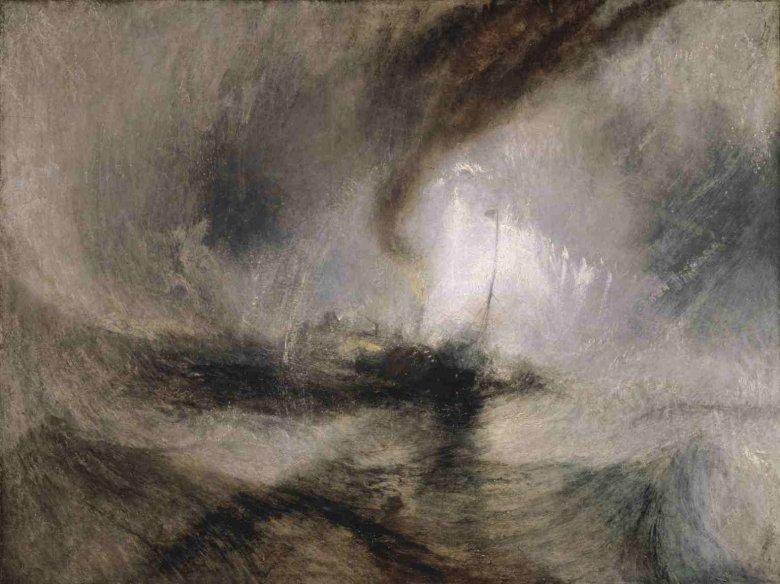 """J.M.W. Turner """"Zadymka – parowiec wypływa z portu"""","""