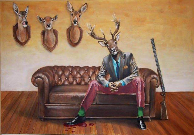 Hunter, akryl na płótnie, 120x80 cm