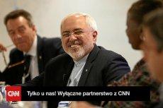 Szef irańskiej dyplomacji Javad Zarif podczas panelu WEF