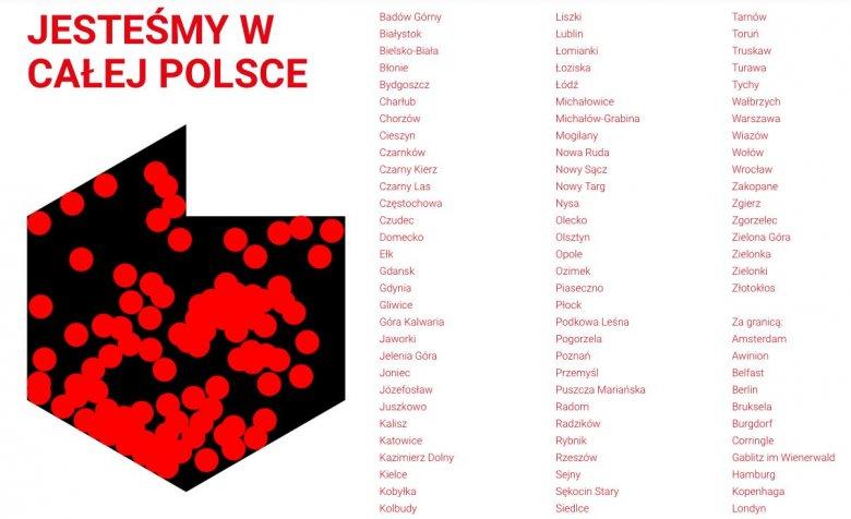 Mapa i część spisu miejscowości zaanagażowanych w inicjatywę Kultura Niepodległa.