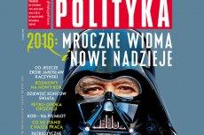 """Najnowsza okładka """"Polityki"""" pokazuje Jarosława Kaczyńskiego w masce Darth Vadera."""