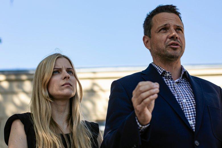 Aleksandra Gajewska, radna Warszawy i Rafał Trzaskowski, kandydat na prezydenta stolicy.
