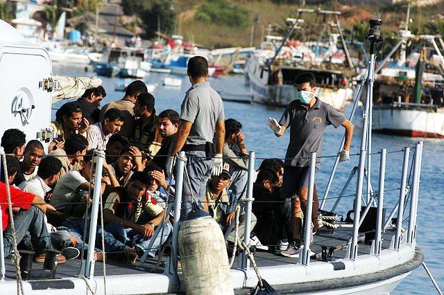 Migrants arriving on the Island of Lampedusa in August 2007