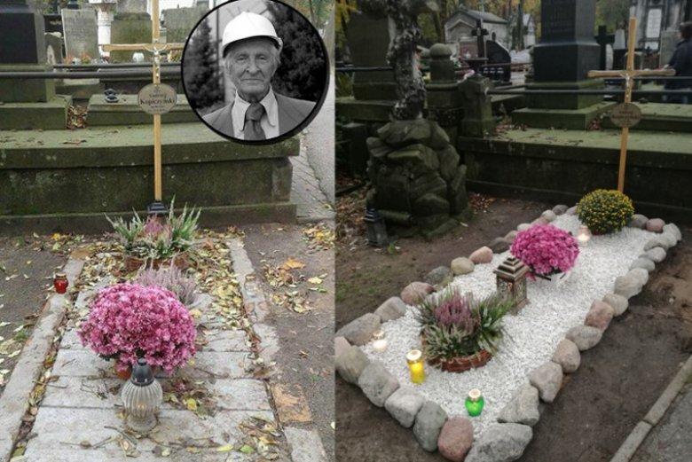 Córka Kopiczyńskiego dowodzi, że grób jej ojca nie wygląda tak źle, jak na zdjęciach które obiegły w ostatnich dniach wszystkie media. Po lewej stronie zdjęcie z sieci, po prawej zamieszczone na Facebooku przez Katarzynę Kopiczyńską.