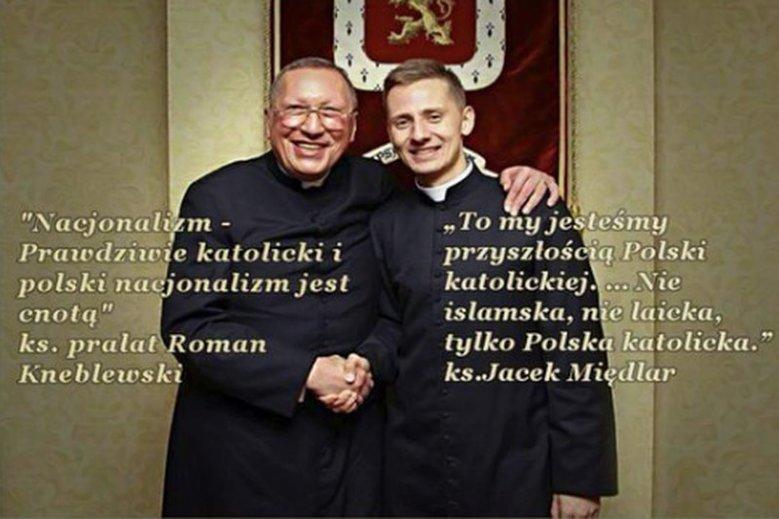 Ks. Roman Kneblewski i Jacek Międlar - wówczas jeszcze ksiądz – obaj uznawani za kapelanów nacjonalistów.