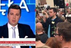 """Czy znany z ataków na opozycję i poparcia dla PiS dziennikarz TVP Michał Rachoń prywatnie ma inne poglądy. Dziś zauważono go w tłumie protestujących przeciw """"dobrej zmianie""""."""