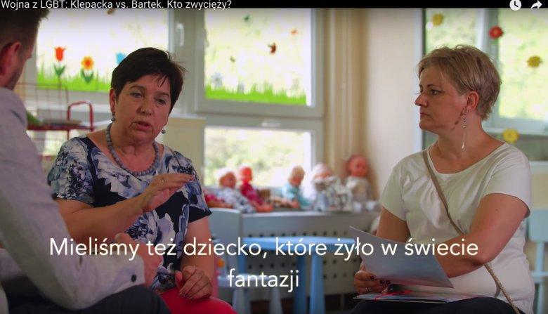 """Zrzut ekranu z reportażu: """"Wojna z LGBT: Klepacka vs. Bartek. Kto zwycięży?"""""""