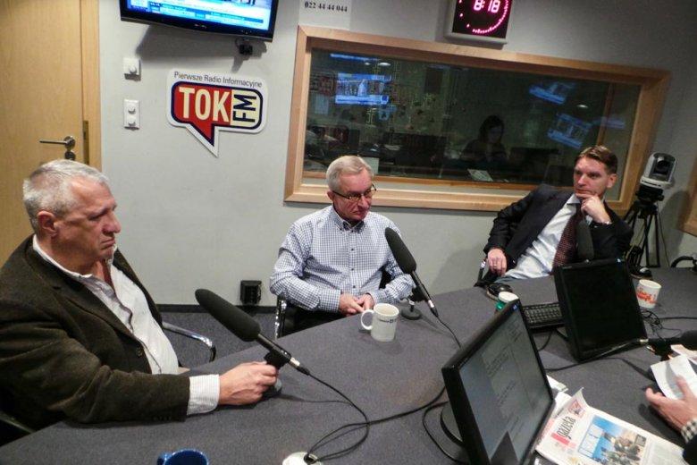 Tomasz Lis, Jacek Żakowski, Wiesław Władyka, Tomasz Wołek w studiu radia TOK FM