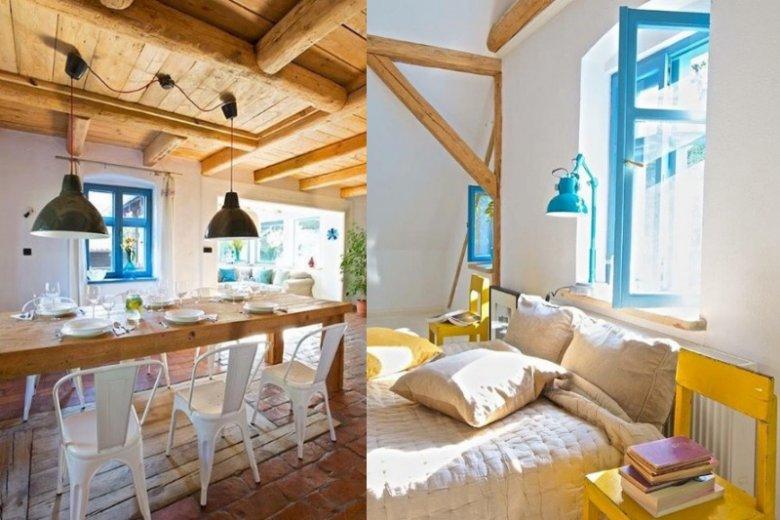 Kolorowe wnętrza domku nie przytłaczają, a nadają przyjemnego klimatu, którego nie chce się opuszczać
