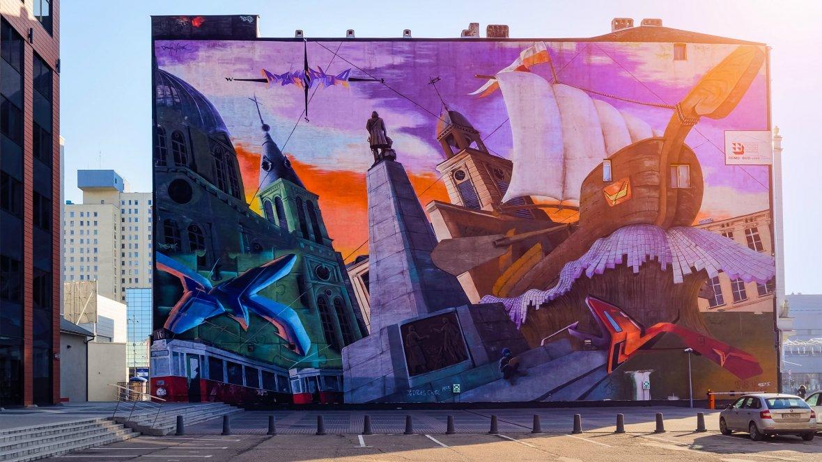 Mural przedstawiający łódzkie zabytki