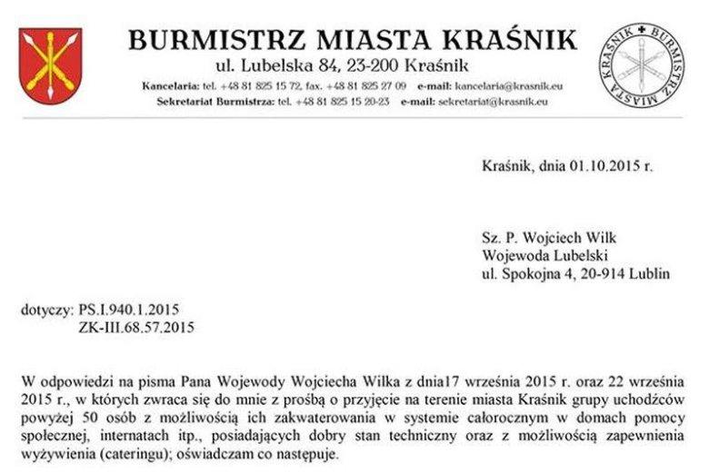 Burmistrz Kraśnika nie chce uchodźców