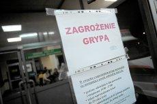 Warszawa 2009. Ostrzeżenie przed grypą w warszawskim szpitalu przy ul. Banacha