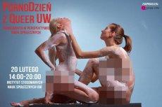 """M.in. takie plakaty reklamowały wydarzenie """"PornoDzień z Queer UW"""""""