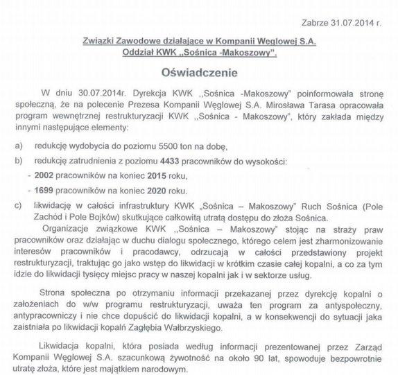Oświadczenie Związków Zawodowych z kopalni Sośnica-Makoszowy