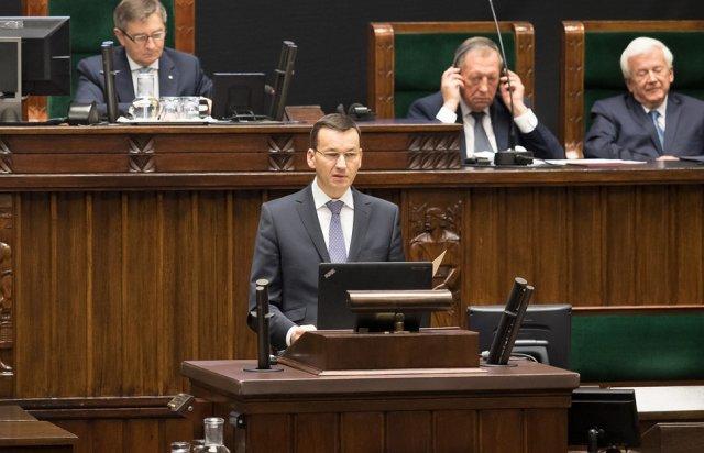 Wicepremier Mateusz Morawiecki w Sejmie 15 października.