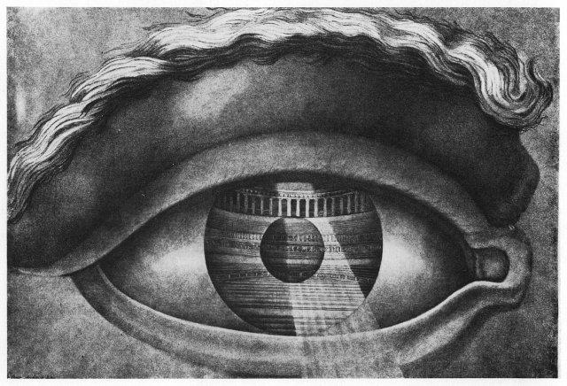 """Claude Nicolas Ledoux: """"L'oeil réfléchissant le théâtre de Besançon"""", akwaforta, ok. 1800 r .  http://darkclassics.blogspot.com/2012/03/claude-nicolas-ledoux-eye-enclosing.html"""