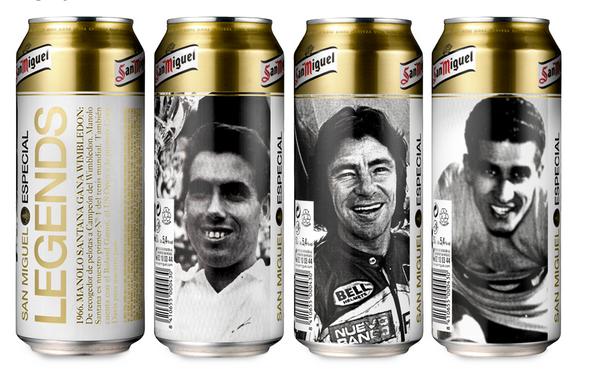 """Projekt """"Legends"""" dla piwa SanMiguel, wykorzystujący wizerunki hiszpańskich sportowców-legend."""