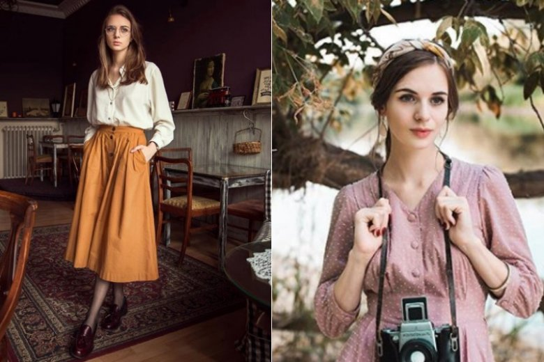 Karolina umiejętnie łączy rzeczy vintage ze współczesnymi ubraniami
