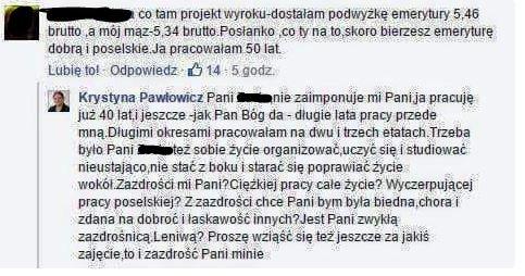 Krystyna Pawłowicz twierdzi, że biedny emeryt sam jest sobie winny.