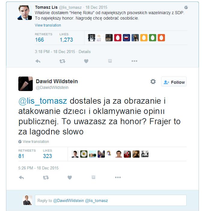 Odpowiedź Dawida Wildsteina na tweet Tomasza Lisa