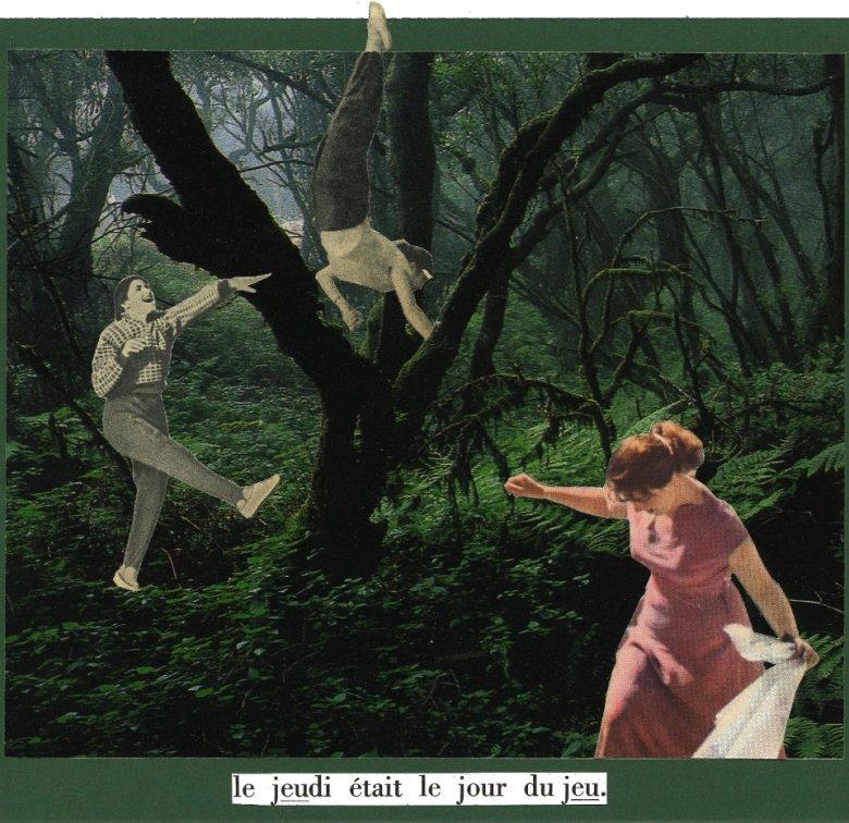 """Jedna z prac, które pojawią się na aukcji - kolaż """"Le jeudi etait le jour du jeu"""" tragicznie zmarłego Jana Dziaczkowskiego"""