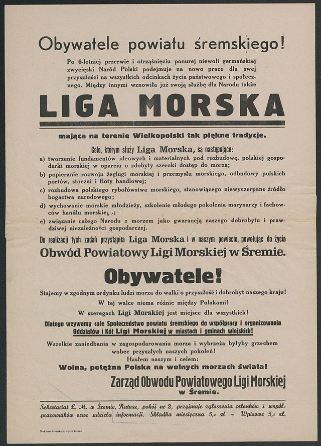Odezwa Ligi Morskiej w Śremie, 1924 rok.