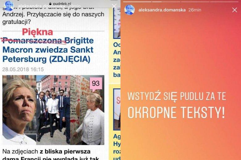 Aleksandra Domańska stanowczo zaprotestowała przeciwko takiej narracji stosowanej przez portale plotkarskie.