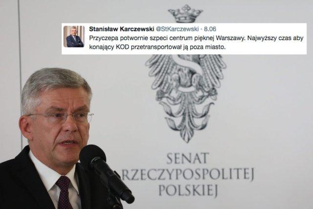 Stanisław Karczewski uważa, że licznik i przyczepa KOD szpecą teren i trzeba je przenieść poza miasto.