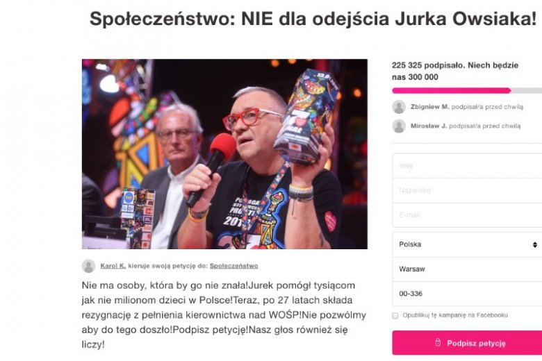 Wciąż można podpisać specjalną petycję wspierającą Jurka Owsiaka