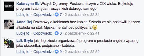 W ostatniej Kawie na Ławę Bogdan Rymanowski rozmawiał o aborcji z samymi mężczyznami. Osoby oglądające program wyraziły swoje niezadowolenie z wykluczenia kobiet na stronie programu na Facebooku.