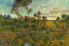 """Fragment obrazu """"Zachód słońca koło Montmajour"""", który Vincent van Gogh namalował w 1888 roku"""
