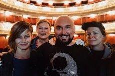 """Patryk Vega pokazał mocne zdjęcie z filmu """"Plagi Breslau"""". Na zdjęciu Małgorzata Kożuchowska, Iwona Bielska, Patryk Vega i Daria Widawska."""