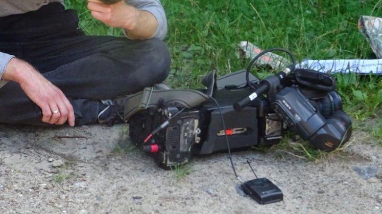 Operator Polsatu i zniszczona kamera