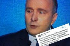 Poseł Tarczyński jedyne co zauważył podczas wystąpienia Grzegorza Schetyny to żółty make-up i pomalowane brwi.