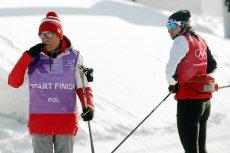 Justyna Kowalczyk z Aleksandrem Wierietelnym podczas treningu w Pjongczangu