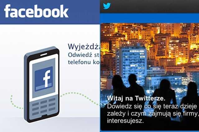 Strony startowe Facebooka i Twittera, najbardziej opiniotwórczych serwisów społecznościowych