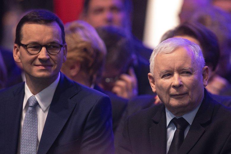 Premier Mateusz Morawiecki i przywódca PiS poseł Jarosław Kaczyński.