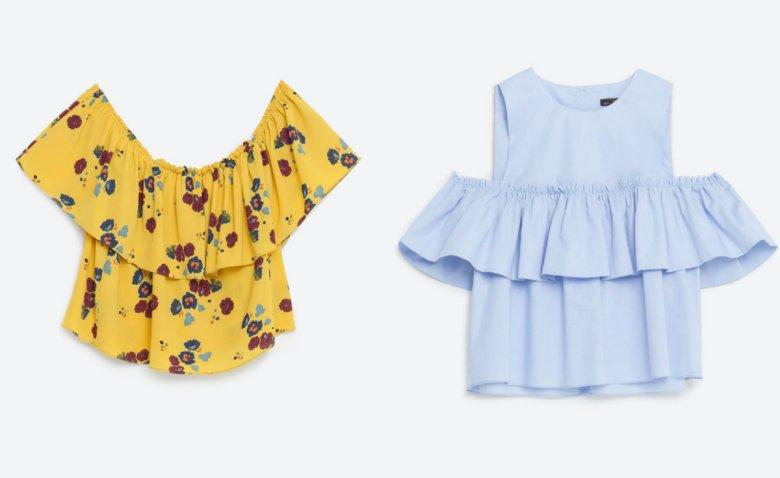 Żółta bluzka - Zara 99, 90 zł, niebieska - Zara 89,90