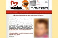 """Na stronie Fundacji """"Maciuś"""" brak informacji o tym, jaka część środków trafia do biednych dzieci."""
