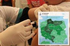 Mapka ze wskaźnikiem odmów szczepień w Polsce to hit Twittera