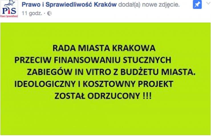 """Takie """"hasło"""" pojawiło się dzisiaj na stronie krakowskiego oddziału PiS."""