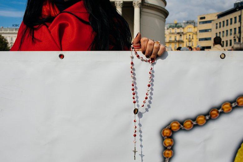"""""""Maryja Zwycięży"""" – ten transparent otwierał marsz."""
