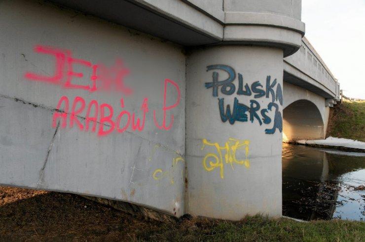 15.01.2016 Wrocław . Napisy nawołujące do nienawiści rasowej w Oławie na moście na rzece Oławie .